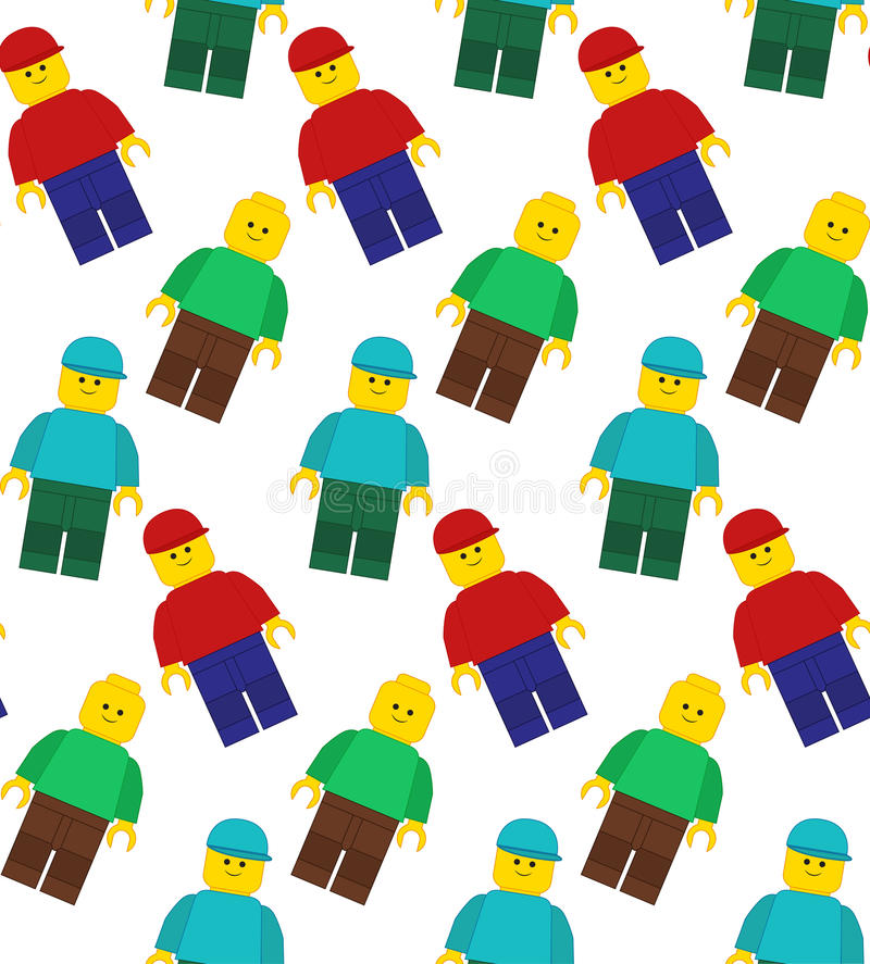 Het naadloze vectorpatroon van lego bemant vector illustratie