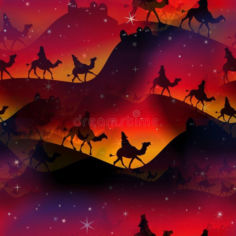 Het naadloze Verpakkende Document van Kerstmismagi royalty-vrije illustratie