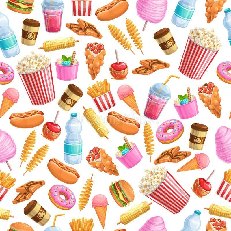 Het naadloze voedsel van de patroonstraat stock illustratie