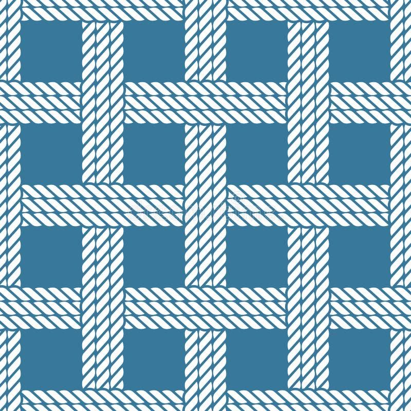 Het naadloze zeevaartpatroon van de kabelknoop, rooster vector illustratie