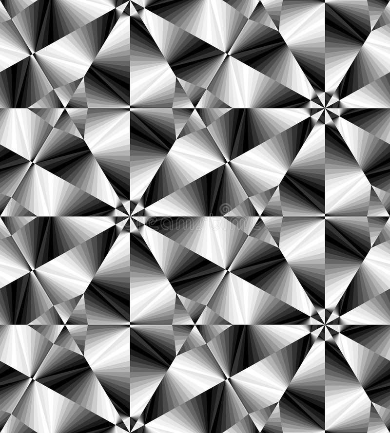 Het naadloze Zwart-wit Veelhoekige Geometrische Patroon die zacht van Licht aan Donkere Tonen gloeien leidt tot de illusie van di stock illustratie
