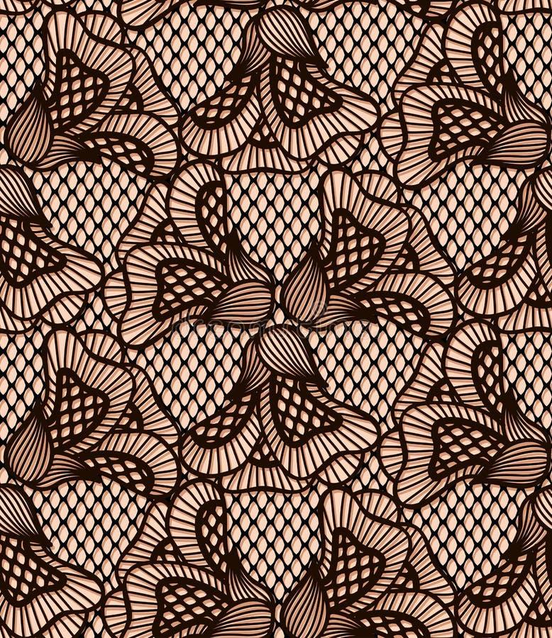 Het naadloze zwarte patroon van het bloemkant, retro kant stock illustratie