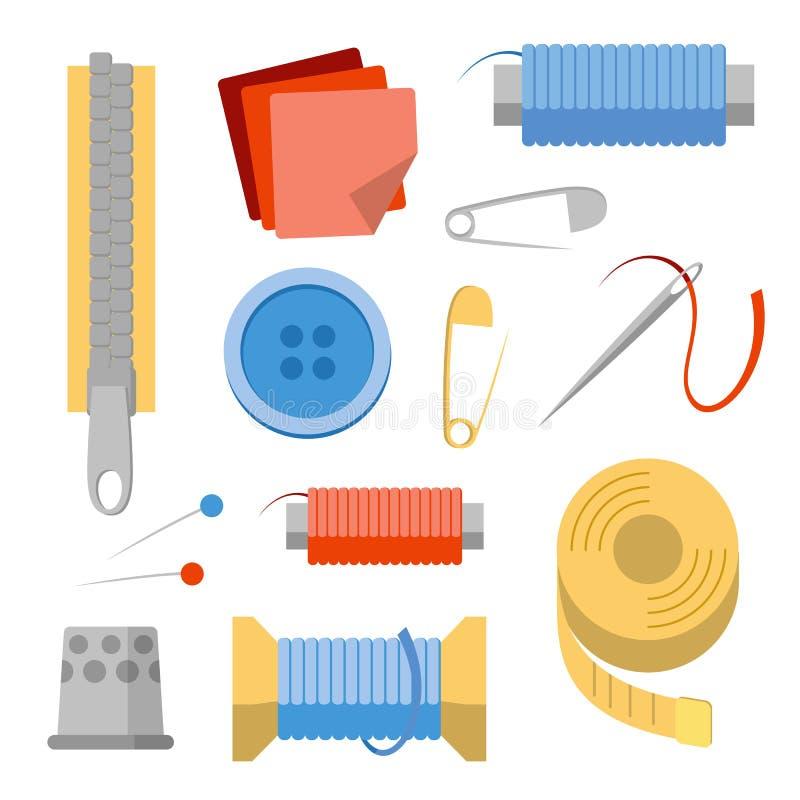Het naaien materiaalreeks Naalden, spelden, draad, knopen, stof, ritssluiting stock illustratie