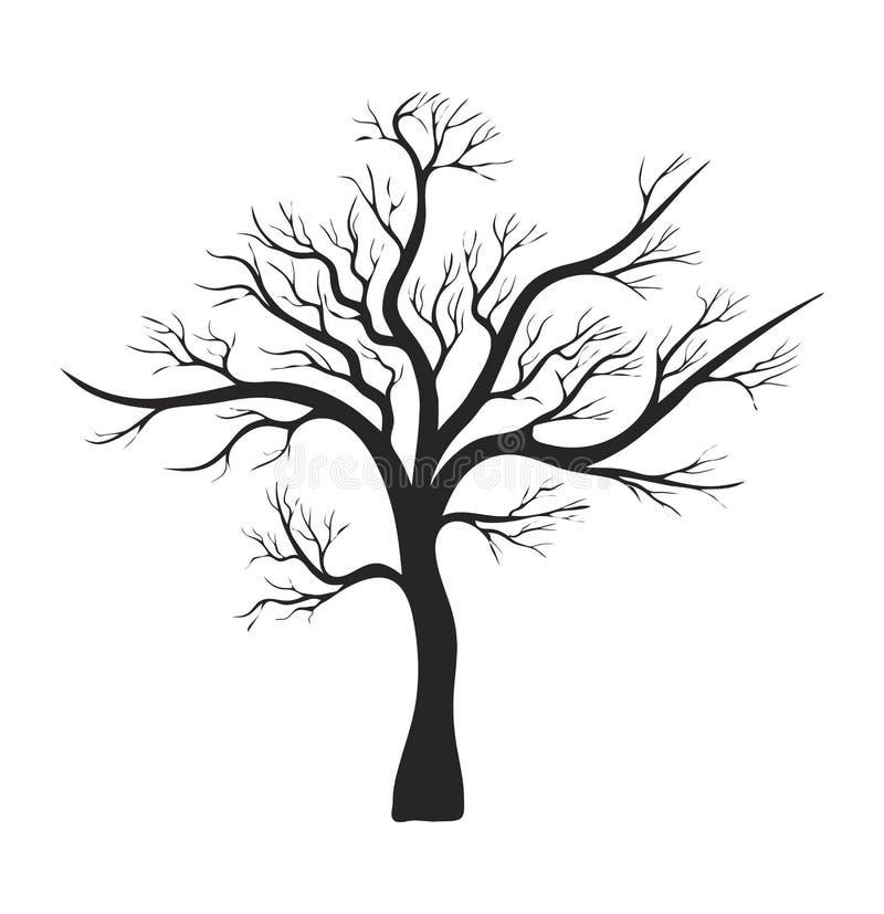 Het naakte ontwerp van het het symboolpictogram van het boomsilhouet vector royalty-vrije illustratie