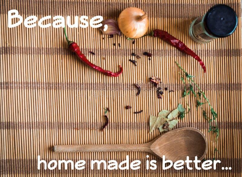 Het naar huis gemaakte voedsel is beter voor u royalty-vrije stock fotografie