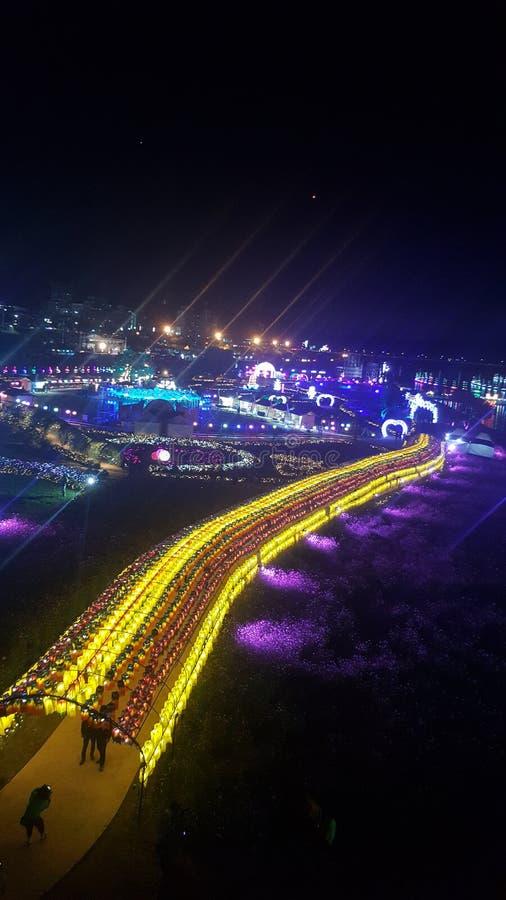 Het nachtleven in gongju van Zuid-Korea royalty-vrije stock afbeelding