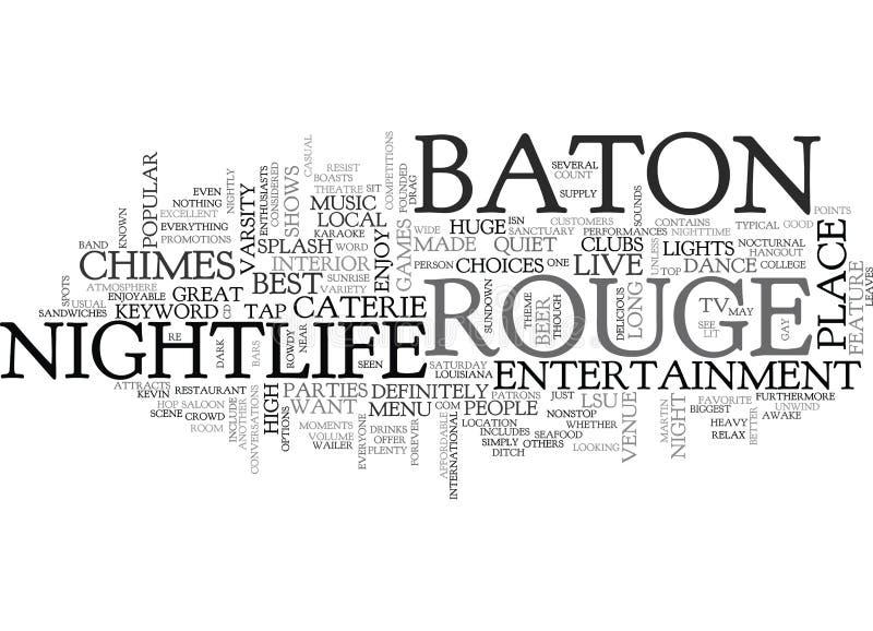 Het Nachtlevenword van Baton Rouge Wolk vector illustratie