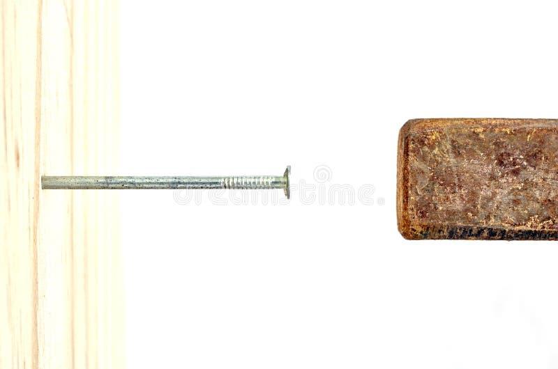 Het nagelen in Hout royalty-vrije stock afbeelding