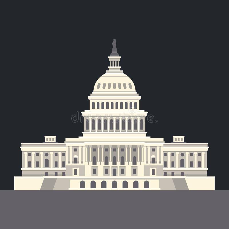 Het Nationale Capitool van de V.S. in Washington, gelijkstroom Amerikaans oriëntatiepunt Vector vector illustratie