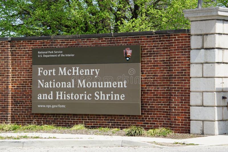 Het Nationale Monument van fortmchenry en Historisch Heiligdom in Baltimore, Maryland stock fotografie
