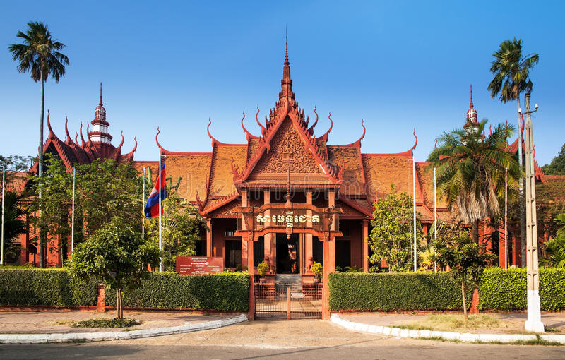 Het Nationale Museum van Kambodja (Sala Rachana) Phnom Penh, Cambo stock foto