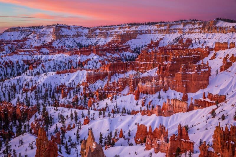 Het Nationale Park van de Canion van Bryce in de winter, Utah, de V royalty-vrije stock fotografie