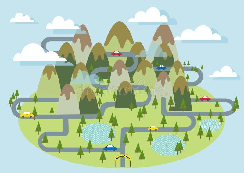 Het Nationale park van de toerismeberg met auto op de wegvector stock illustratie