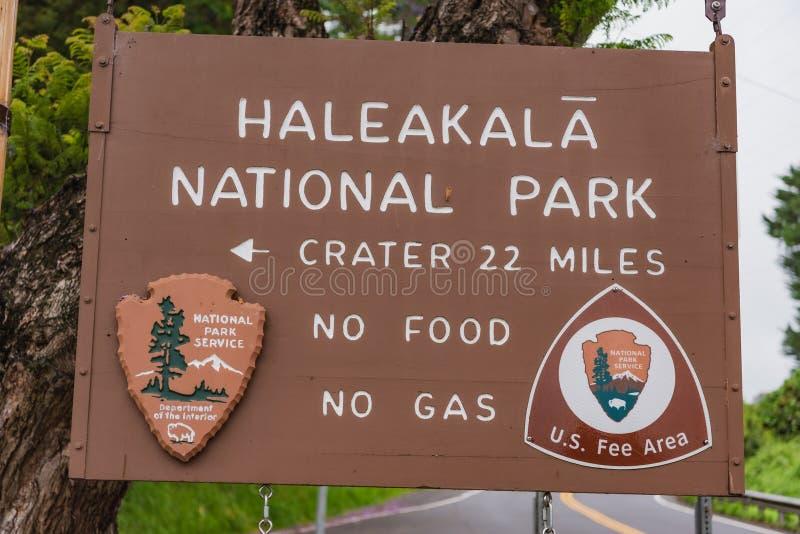 Het Nationale Park van Haleakala van het ingangsteken stock afbeeldingen