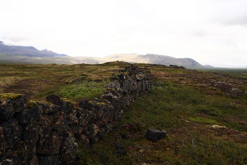 Het Nationale Park van Thingvellir in IJsland stock foto's
