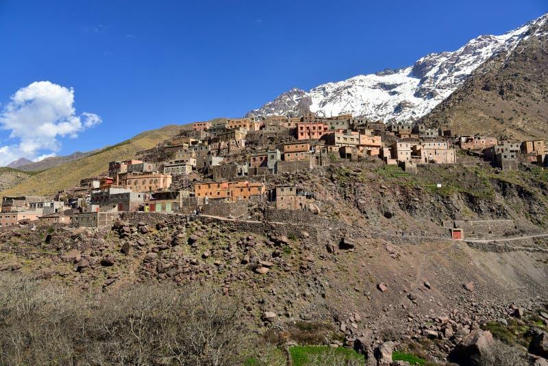 Het nationale park van Toubkal van het Berberdorp stock fotografie