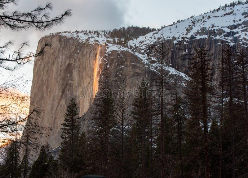 Het nationale park van Yosemite van de branddaling royalty-vrije stock afbeeldingen