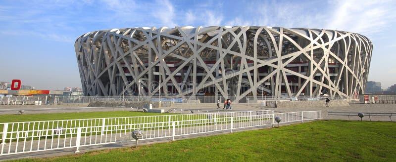 Het Nationale Stadion Panoram van China Peking royalty-vrije stock foto's