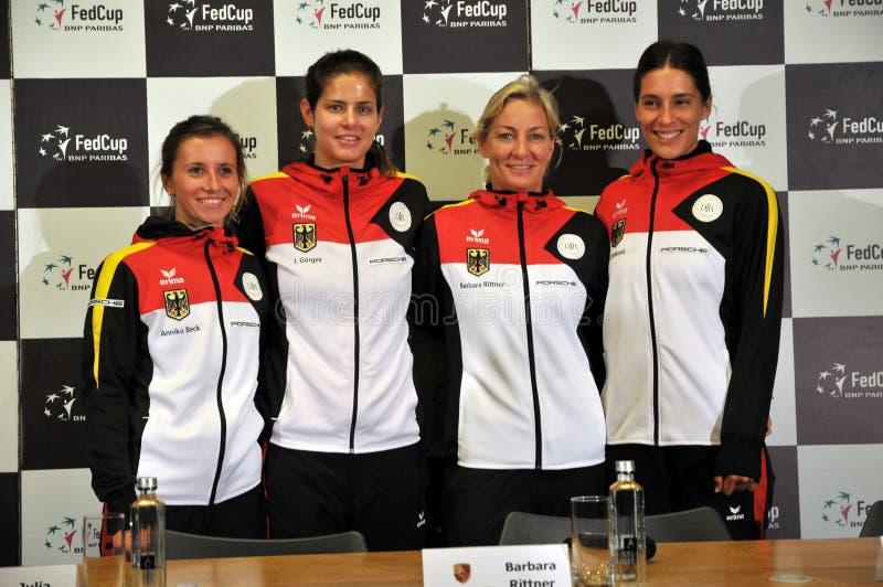 Het nationale Team van het Vrouwentennis van Duitsland tijdens een persconferentie royalty-vrije stock foto's