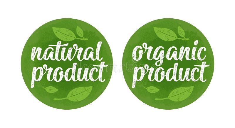 Het natuurlijke biologisch product van letters voorzien met blad Vector donkergroene uitstekende illustratie stock illustratie