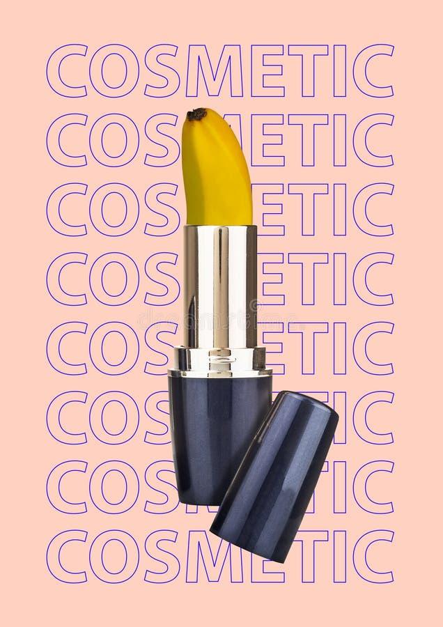 Het natuurlijke concept van de schoonheidslichaamsverzorging Kosmetische lippenstift met banaan in plaats van pommade Modern ontw royalty-vrije stock fotografie