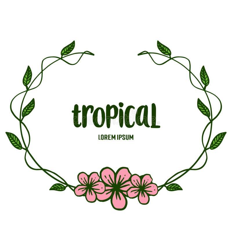 Het natuurlijke die kader van de bladbloem op witte achtergrond, tropische de zomer wordt geïsoleerd Vector stock illustratie