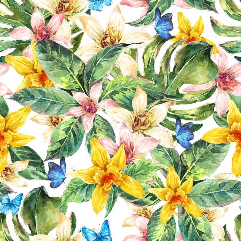Het natuurlijke naadloze patroon van de bladerenwaterverf, bloemorchidee stock illustratie