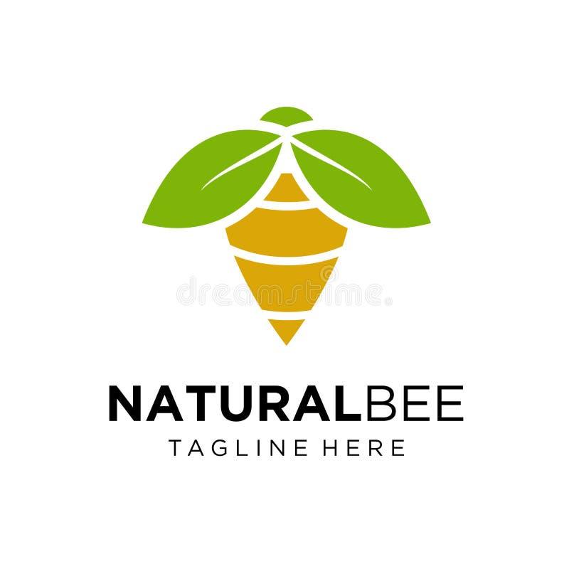 Het natuurlijke ontwerp van het Bijenembleem stock illustratie