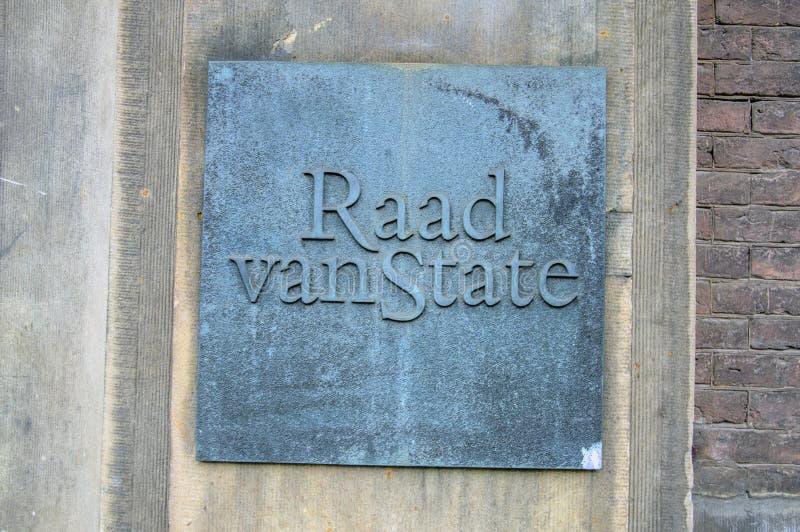 Het Nederland 2018 van aanplakbordraad van state at the hague royalty-vrije stock foto