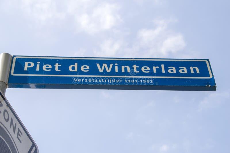 Het Nederland 2019 van Piet De Winterlaan Street Sign At Amstelveen stock foto