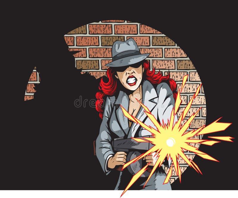 Het neerschieten van Gangster Gal vector illustratie