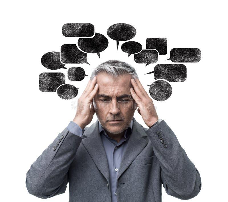 Het negatieve denken en spanning stock afbeeldingen
