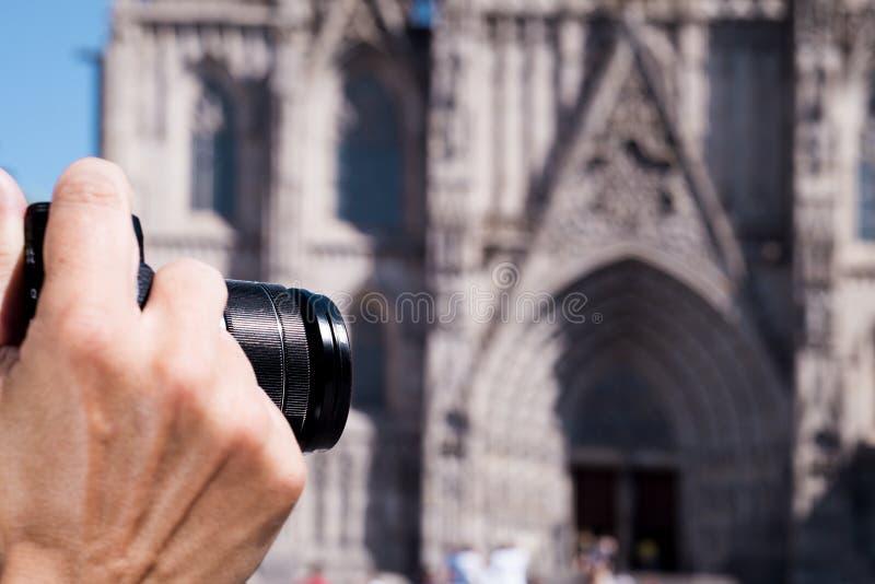 Het nemen van een beeld van de Kathedraal van Barcelona, Spanje royalty-vrije stock afbeelding