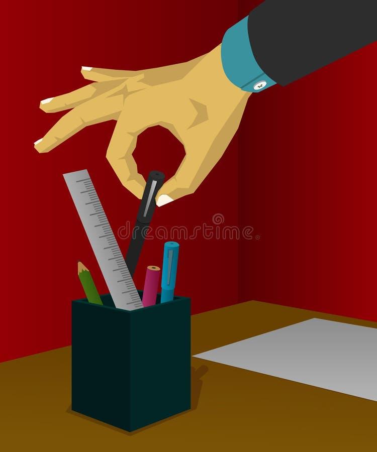 Het nemen van een pen van de kantoorbehoeften stock foto's