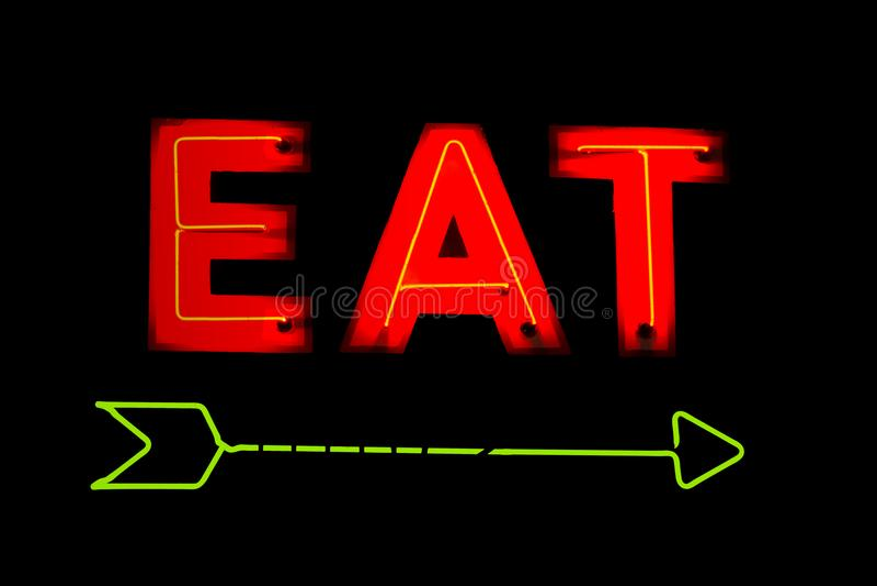 Het neon eet Restaurantteken royalty-vrije stock afbeeldingen