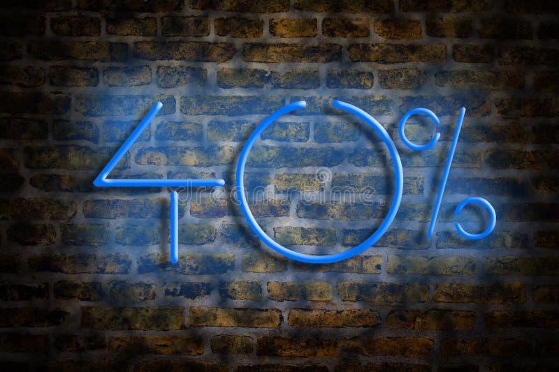 Het neon figuur 40 percenten op een bakstenen muurachtergrond Het concept handel, kortingen royalty-vrije stock afbeelding