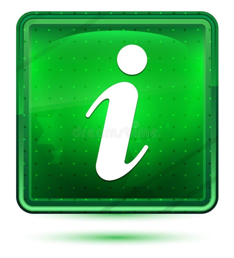 Het neon lichtgroene vierkante knoop van het informatiepictogram royalty-vrije illustratie