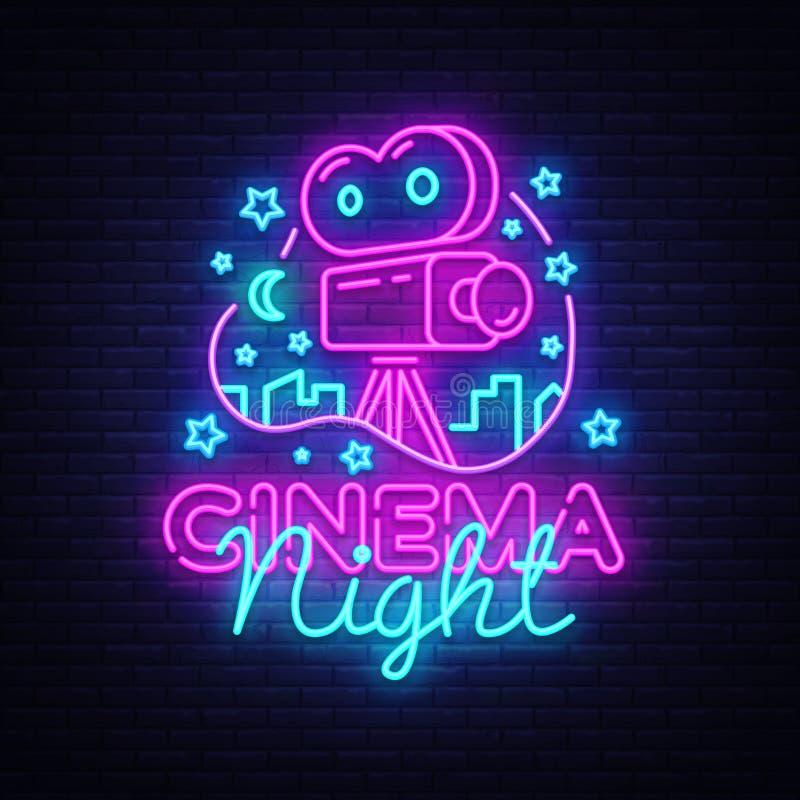 Het Neon Logo Vector van de bioskoopnacht Het neonteken van de filmnacht, ontwerpmalplaatje, modern tendensontwerp, het uithangbo royalty-vrije illustratie