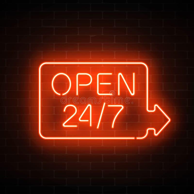 Het neon opent 24 uren 7 dagen per week ondertekent in geometrische vorm met pijl op een bakstenen muurachtergrond vector illustratie