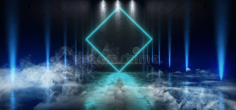 Het Neon het van de achtergrond rookmist Futuristische Ondergrondse Schip Grote van Hall Gallery Room Sci Fi Poort het Gloeien Bl vector illustratie
