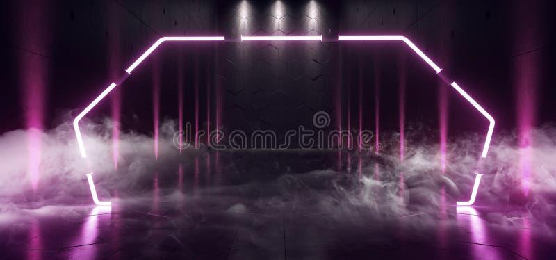 Het Neon het van de achtergrond rookstoom Futuristische Ondergrondse Schip Grote van Hall Gallery Room Sci Fi Poort het Gloeien U stock illustratie