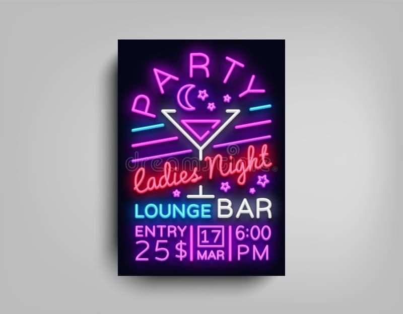 Het neon van de cocktail partyaffiche Het ontwerp van het vliegermalplaatje in neonstijl De Uitnodigingen van de de Cocktail part stock illustratie