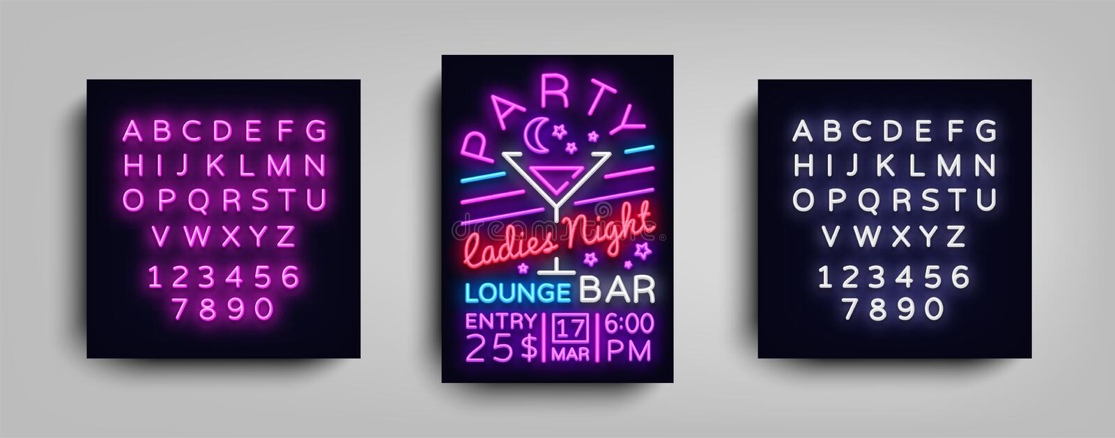 Het neon van de cocktail partyaffiche Het ontwerp van het vliegermalplaatje in neonstijl De Uitnodigingen van de de Cocktail part stock illustratie