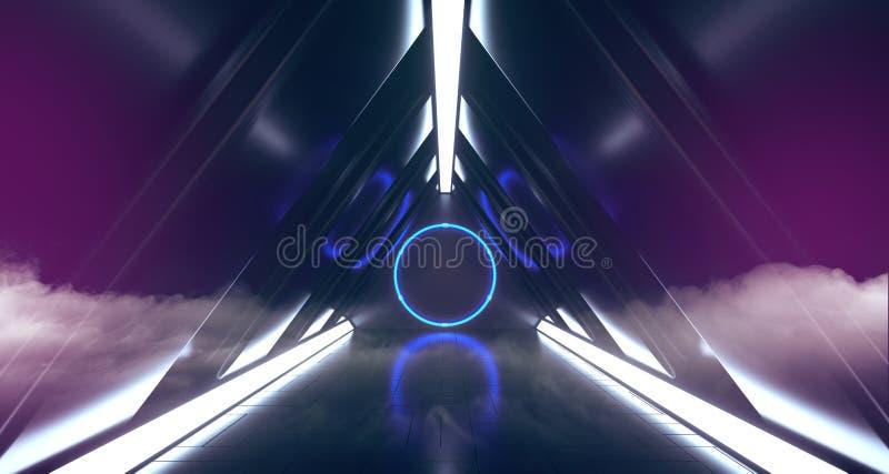 Het Neon van de rookmist Vreemd het Gloeien Cirkel Gestalte gegeven Licht in Donkere Gevormde de Tunnelgang van het Bezinnings Ge royalty-vrije illustratie