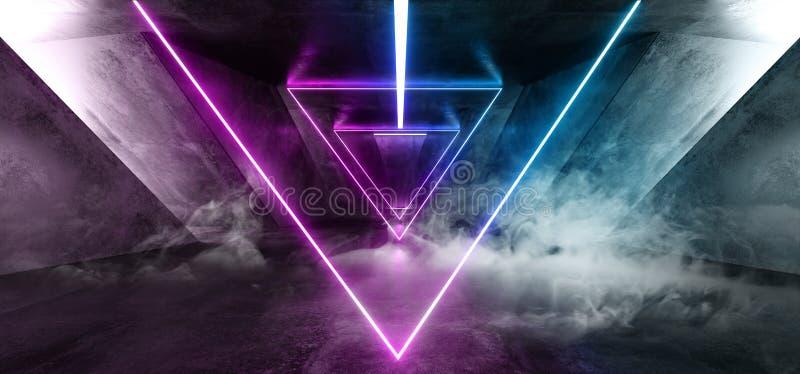 Het Neon van FI van rooksc.i Fluorescente Trillende Driehoek Gestalte gegeven het Gloeien Blauwe Purpere Lichten in Reusachtig Do stock illustratie