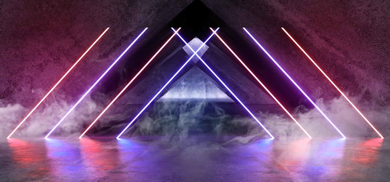 Het Neon van FI van rooksc.i Fluorescente Trillende Driehoek Gestalte gegeven het Gloeien Blauwe Purpere Lichten in Reusachtig Do royalty-vrije illustratie