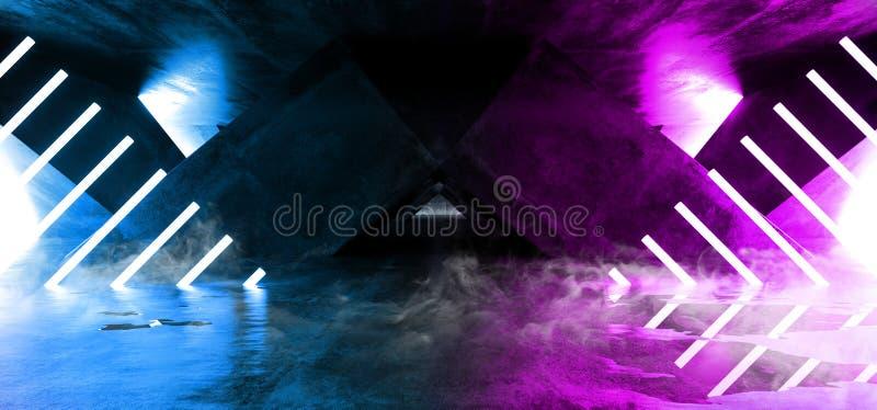 Het Neon van FI van rooksc.i Fluorescente Trillende Driehoek Gestalte gegeven het Gloeien Blauwe Purpere Lichten in Reusachtig Do vector illustratie