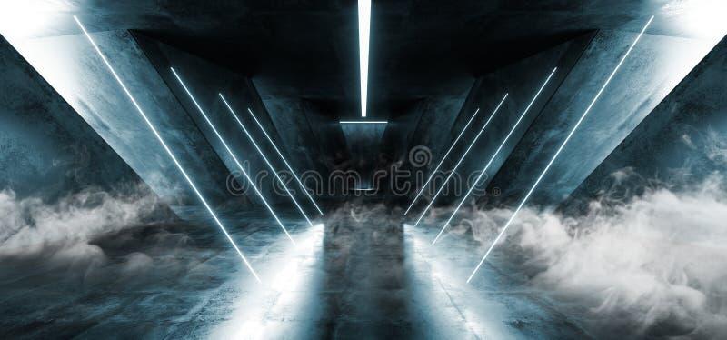 Het Neon van FI van rooksc.i Fluorescente Trillende Driehoek Gestalte gegeven het Gloeien Blauwe Witte Lichten in Reusachtig Donk stock illustratie