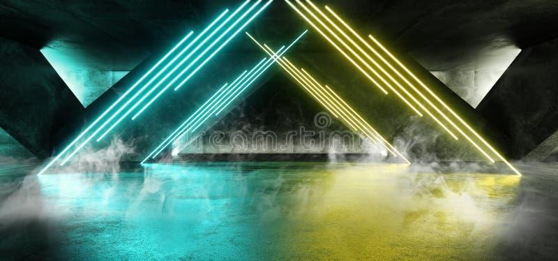 Het Neon van FI van rooksc.i Fluorescente Trillende Driehoek Gestalte gegeven het Gloeien Blauwgroene Gele Lichten in Reusachtig  vector illustratie