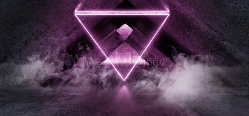 Het Neon van FI van rooksc.i Fluorescente Trillende Driehoek Gestalte gegeven het Gloeien Purpere Lichten in Reusachtig Donker Ce vector illustratie
